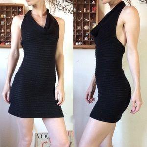 Les Coquettes Black Knit Glitter BodyCon Dress